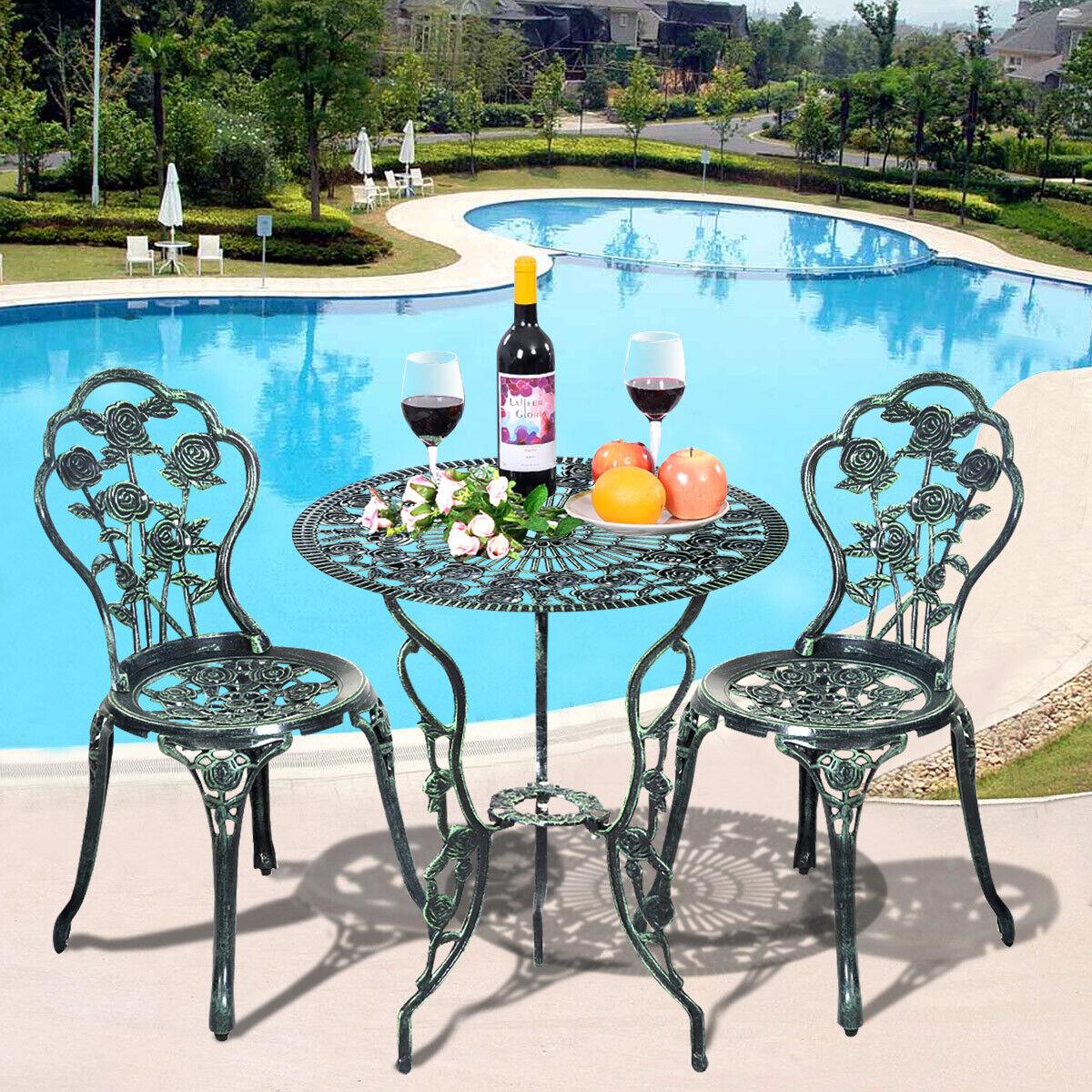 Garden Furniture - Aluminium Cafe Bistro Set Patio Cast Garden Outdoor Furniture Table and Chairs