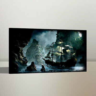 Canvas Print Pirates of The Caribbean HD Art Work Painting Home Wall Decor 12x20 - Caribbean Decor
