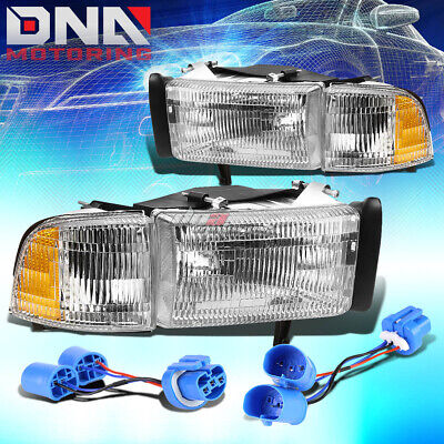 FOR 94-02 DODGE RAM/SPORT CHROME HOUSING CLEAR HEADLIGHT ASSEMBLY+SIDE LIGHT Chrome Clear Headlight Assembly