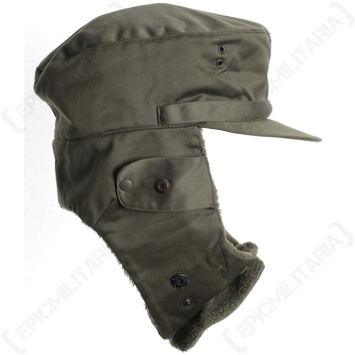 Original Austrian Winter Hat Army Surplus Cap Quilted Fleece Lined Ear Flaps