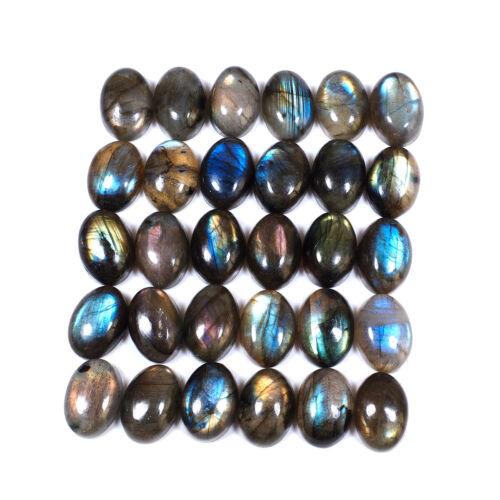 30 Pcs Natural Labradorite Flashy 14mm*10mm Oval Cabochon Flashy Gemstones Lot