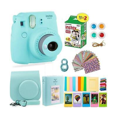 FujiFilm Instax Mini 9 Camera, Ice Blue W/Film Twin Pack, 20 Exposures/Acc Kit
