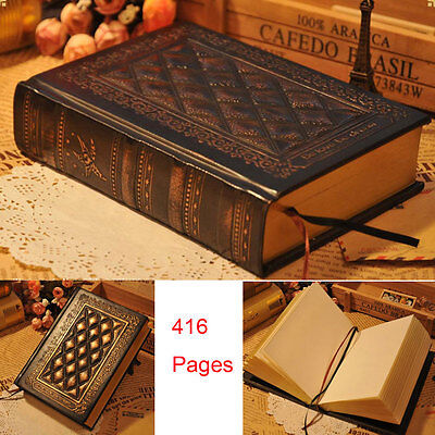 Купить 416 Pages Journal Diary Notebook Leather Hard Cover Blank Paper Sketchbook Gift