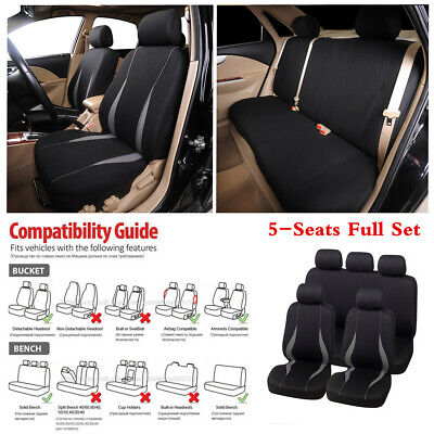 5-Seats Car Seat Covers Black/Grey Washable Airbag Compatible Full 9 Piece Set