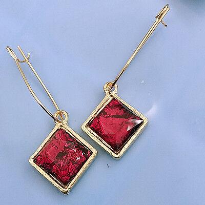 Square Beaded Hoops - LADIES Womens Golden Color Metal Long Hoop RED GEMS SQUARE BEADS Dangle Earrings