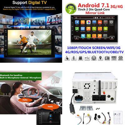 2 Din Android 7.1 Car Stereo GPS Nav Sat Radio W Bluetooth WiFi DAB Mirror Link
