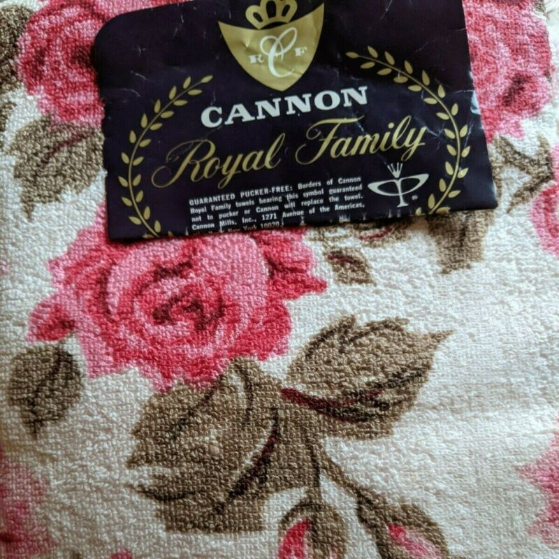 New Vintage Cannon Bath Towel Set PINK ROSES Royal Family Cotton USA NOS w/tags