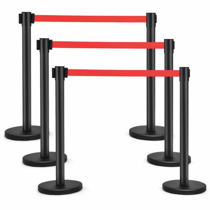 6Pcs Black Stanchion Posts Queue Pole Retractable Red Belt Crowd Control Barrier