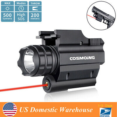 500 Lumens Hunting Red Laser Tactical Weapon Pistol Light LED Flashlight Combo