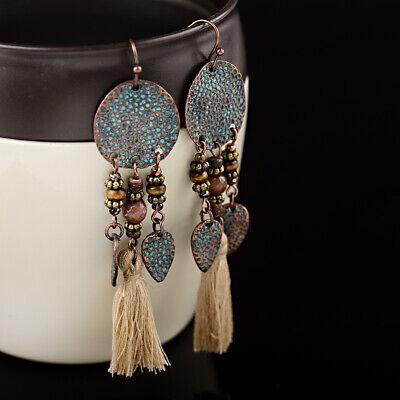 Vintage Bohemian Boho Leaves Khaki Tassel Drop Dangle Women's Earrings Jewellery