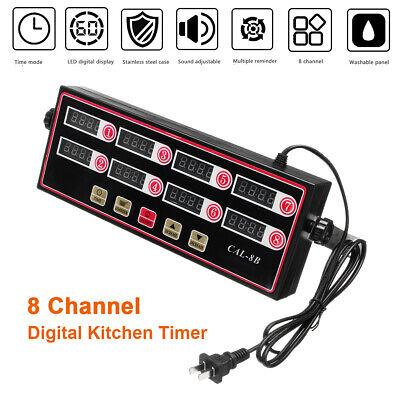 Commercial Digital Timer 8 Channel Cal-8b Restaurant Kitchen Shaking Timing