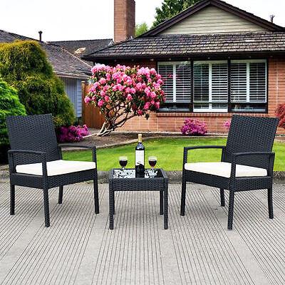 Garden Furniture - 3 PCS Outdoor Rattan Patio Furniture Set Backyard Garden Furniture