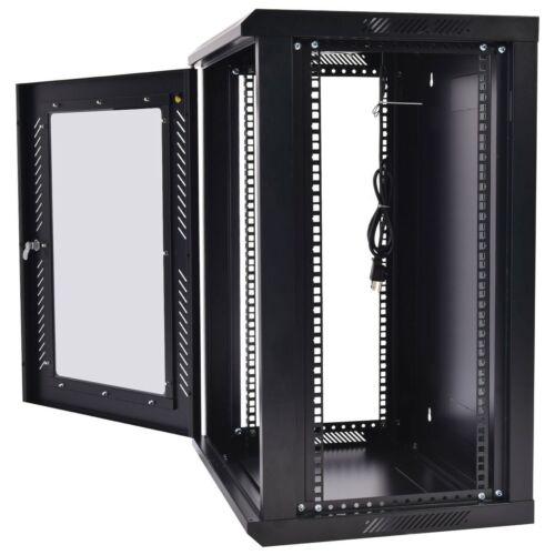 Wall Mount Network Cabinet Data Server Rack w Fan Lock 18U IT Equipment Storage