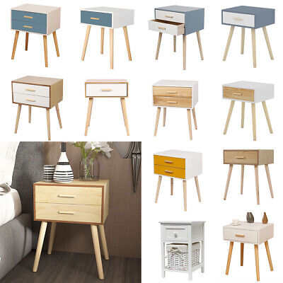 White Bedside Table Cabinets Bedroom Furniture Storage Side TableWood Nightstand