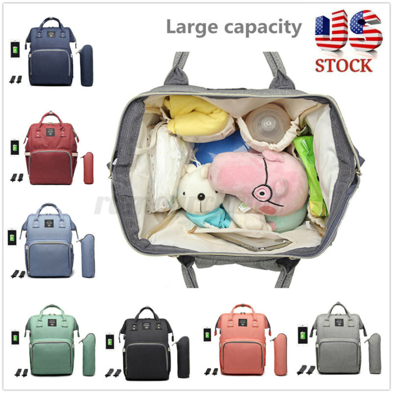 LEQUEEN USB Backpack Waterproof Baby Nappy Diaper Bag Mummy Maternity Travel A