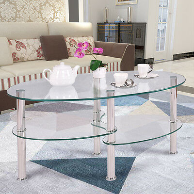 Tempered Glass Obovoid Side Coffee Table Shelf Chrome Base Living Room Clear New