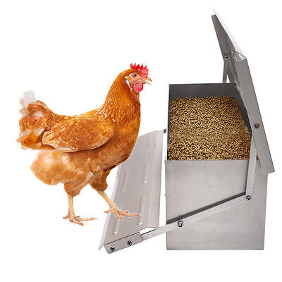 Automatic Chicken Feeder Treadle Self Open Aluminium  Feeder Feed Chook Poultry
