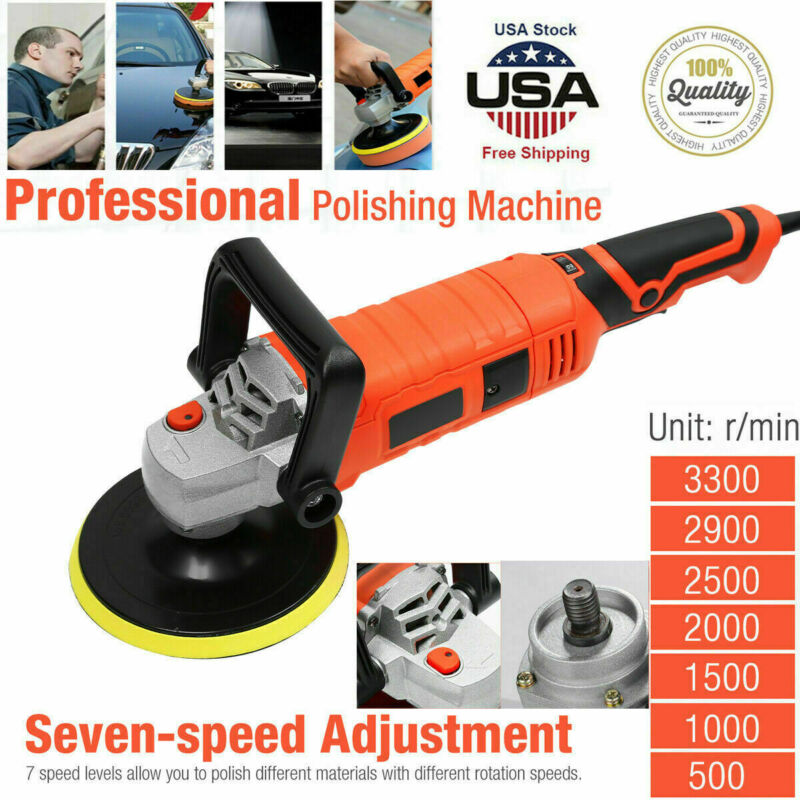 """Electric Car Polisher Buffer Sander Waxer Kit Variable 7-Speed 7"""" 1580 W/ Pads"""