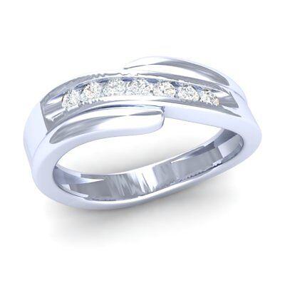 0.25ct Genuine Round Cut Diamond Ladies Wave Twisted Wedding Band 10K White Gold