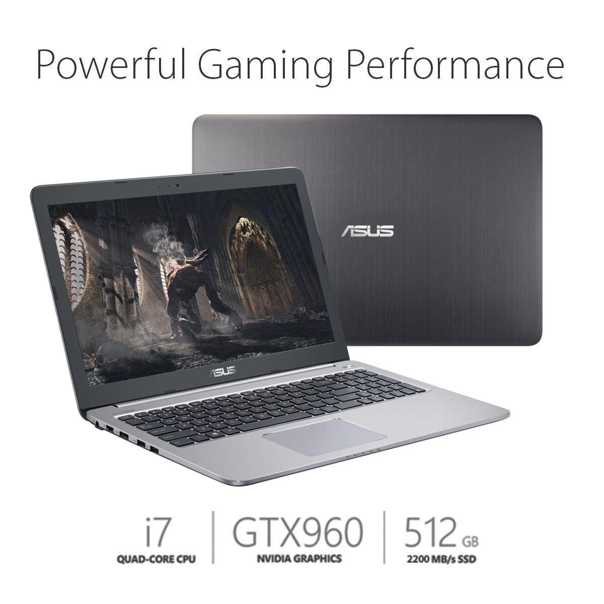 "ASUS K501UW-AB78 15.6"" Full HD Gaming Laptop GTX 960M, 512GB SSD i7"