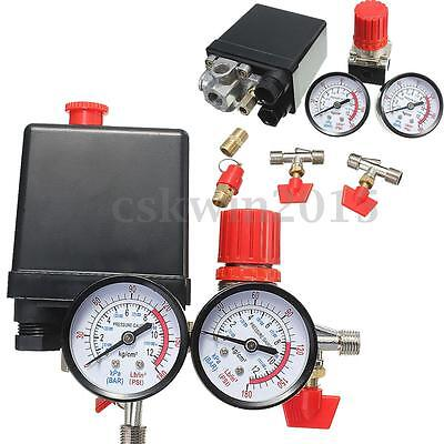 180psi Air Compressor Pressure Valve Switch Manifold Relief Regulator Gauges Kit