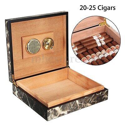 Black Cedar Wooden Lined Cigar Storage Case Box w/ Humidor Humidifier Hygrometer