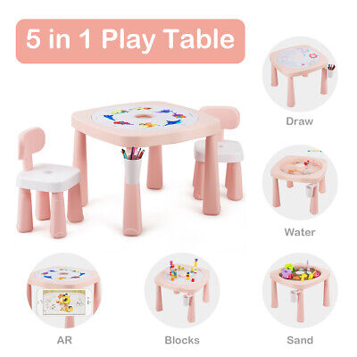5in1 Kids Activity Table Chair Set AR Function Water Building Block Craft Table Water Activity Table