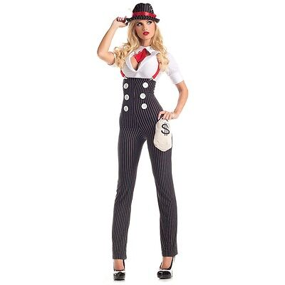 Gangster Costume Adult Mafia Girl Halloween Fancy Dress
