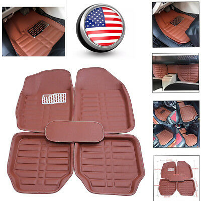 Universal Car Floor Mats Front  Rear All Weather FloorLiner Anti Slip Mat Brown