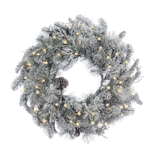 """Flocked With Pine Cones Wreath W/ LED Lights 24"""" Diameter - Christmas Winter"""