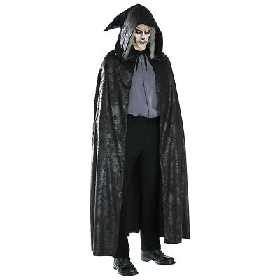 Black Cloak Adult Costume Scary Hooded Cape Grim Reaper Halloween FULL LENGTH