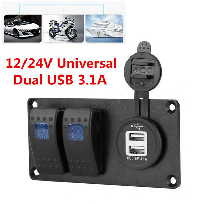 2-gang Blue Led On-off Rocker Switch Panel Dual Usb 3.1a Charger Car Marine Boat