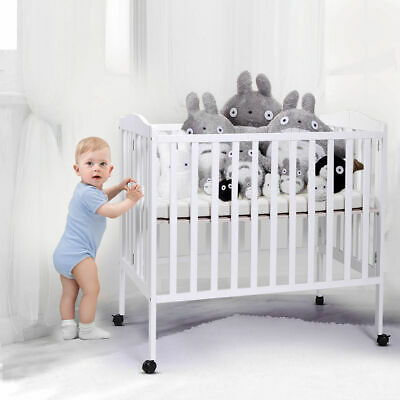 Foldable Pine Wood Baby Toddler Bed Nursery Furniture Safety Newborn White