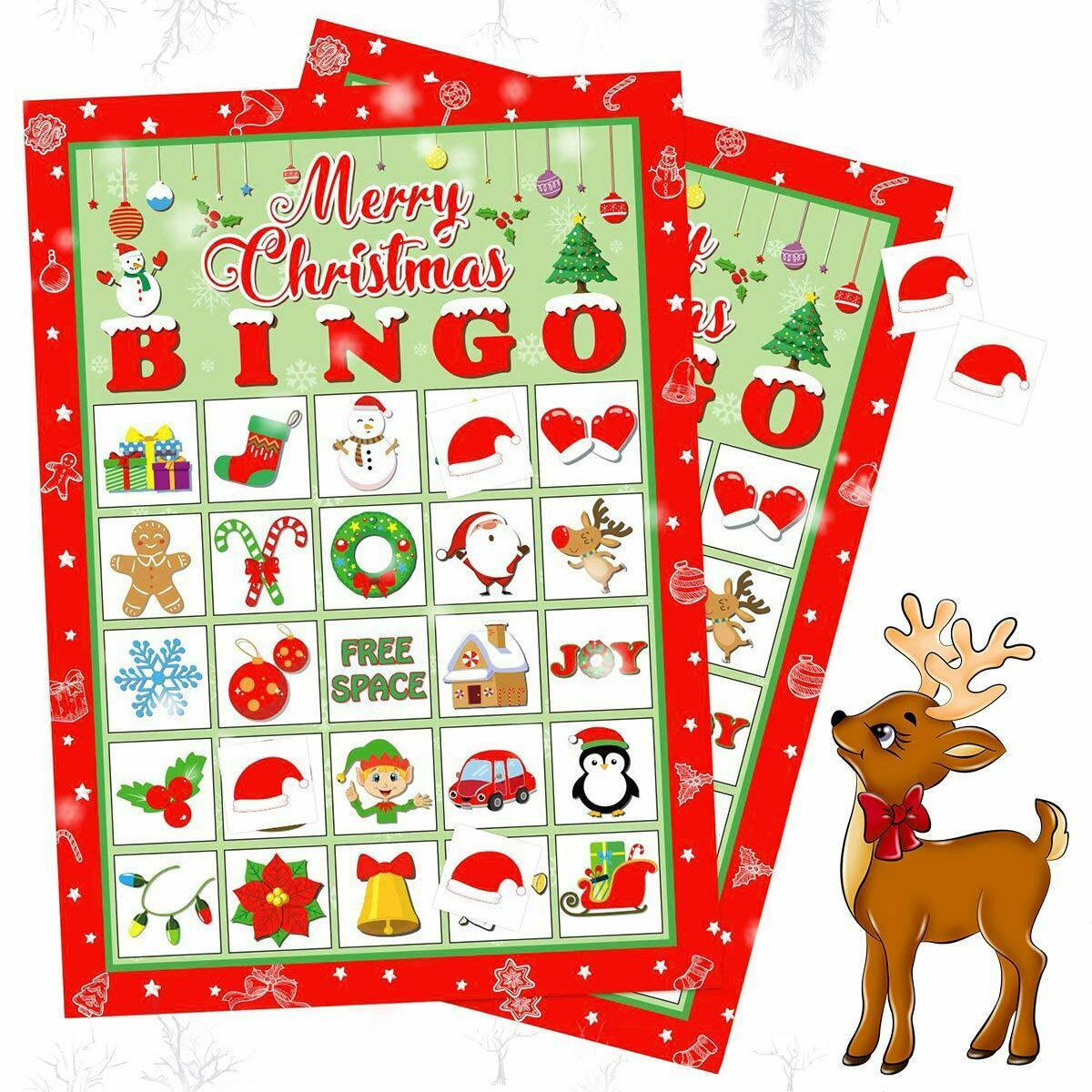 Christmas Party Bingo Game Paper Cards Gift for Large Group