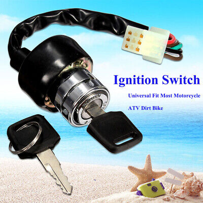 6 Wire Ignition Barrel Switch & 2 Key Motorcycle Scooter Quad Dirt  Bike Go-Kart