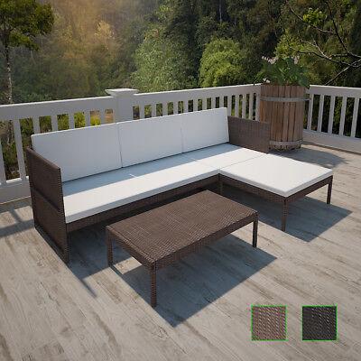 Patio Rattan & Wicker Lounge Set w/ 3-seater Sofa Garden Furniture Black/Brown✓