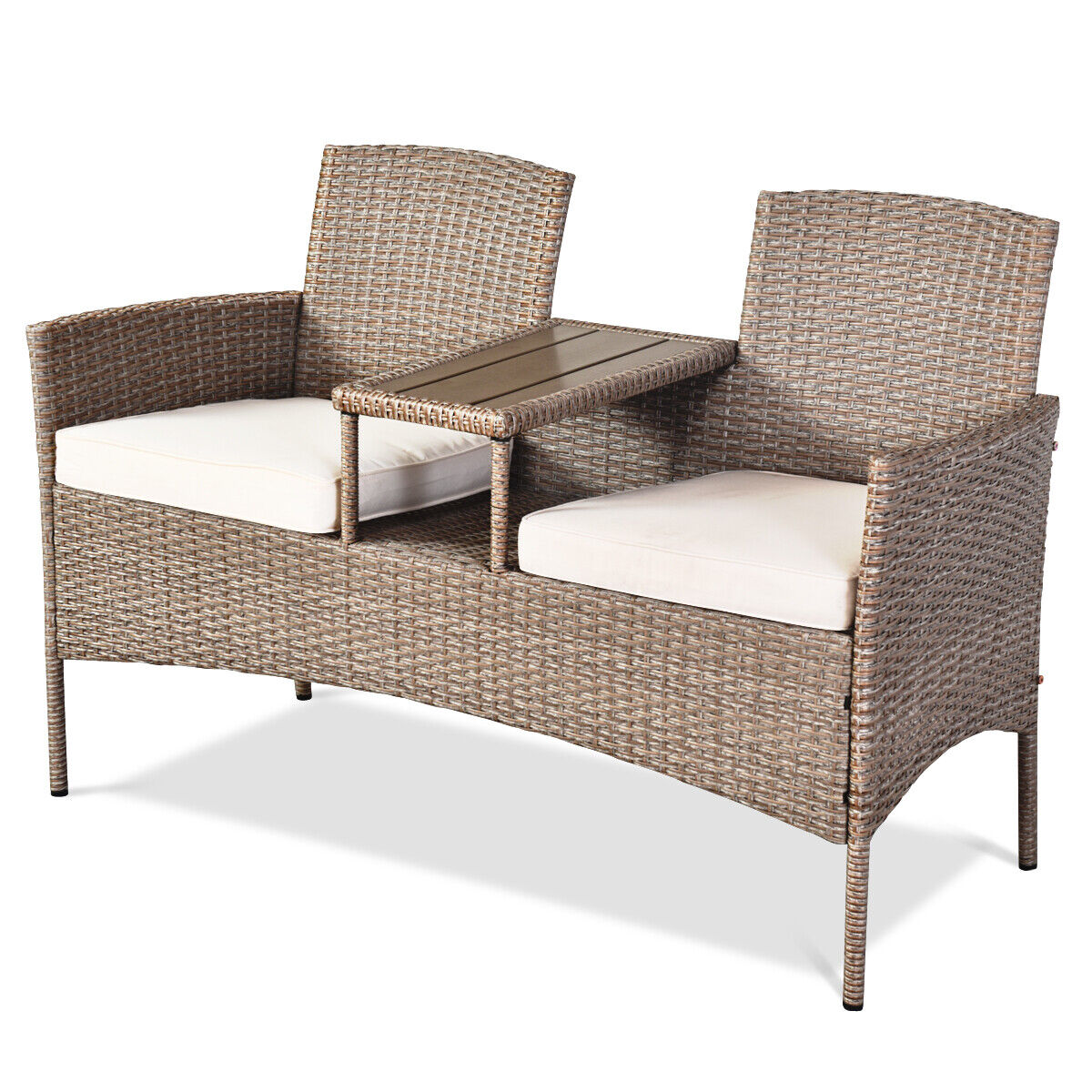 Garden Furniture - Outdoor Garden Furniture 2-Seater Rattan Chair Middle Tea Table Padded Cushions