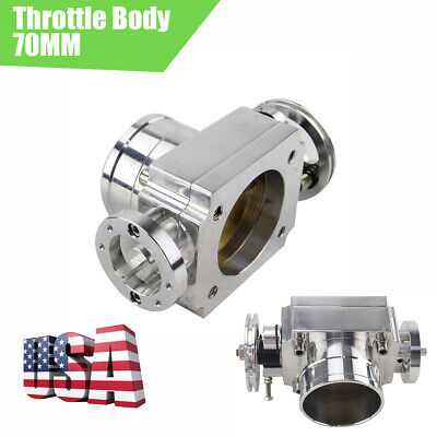 US Shipping 70MM Throttle Body Car Airflow Increase 20% Silver CNC Universal 1PC