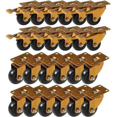 24 Pack 3 Combo Heavy Duty Swivel Plate Antique Polyurethane Caster Wheels
