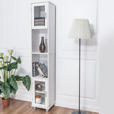 "71"" Bathroom Cabinet Wood Tower Tall Bedroom Shelf Organizer Storage Linen White"