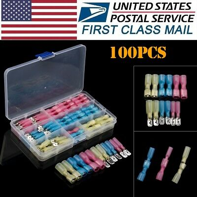 100x Assorted 22-10 Heat Shrink Spade Electrical Wire Crimp Terminals Connectors