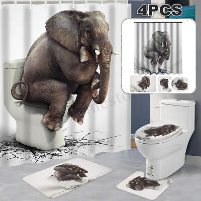 6Ftx6Ft Waterproof Elephant Bathroom Shower Curtain With Free Hooks + Toliet Mat