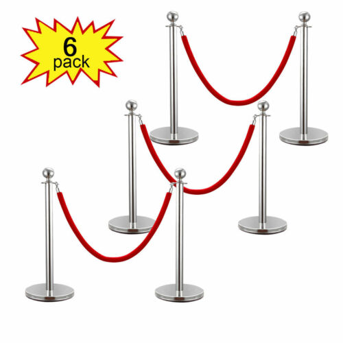 6PCS Stainless Steel Crowd Control Stanchions Velvet Rope Barrier Silver