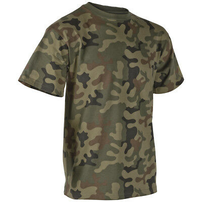 (Helikon Military T-Shirt Army Patrol Top Combat Tee Airsoft Polish Woodland Camo)