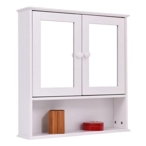 New Bathroom Wall Cabinet Double Mirror Door Cupboard Storage Wood Shelf Whit