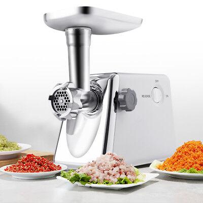 0Elektrisch Fleischwolf Wurstmaschine + Wurstaufsatz Metallgetriebe Lochscheiben (Fleisch Fleischwolf Maschine)