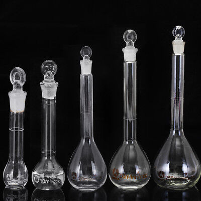 5102550100250ml Clear Glass Volumetric Flask With Stopper Lab Glassware