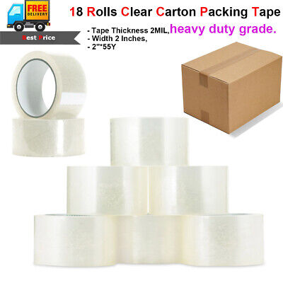 18 Rolls Clear Carton Sealing Packing Shipping Tapes2 Mils 2 X 55 Yards 165ft