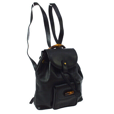 GUCCI Bamboo Backpack Hand Bag Purse Black Leather Italy Vintage AK25742b