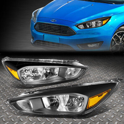 FOR 2015 2018 FORD FOCUS GEN3 PAIR BLACK HOUSING AMBER SIDE HEADLIGHTLAMP SET